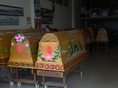 Colorful funeral caskets