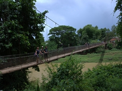 Tig, Lars and Becky strike a pose on Kampong Pil hanging bridge; Battambang