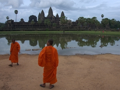 Tourist monks enjoying Angkor Wat