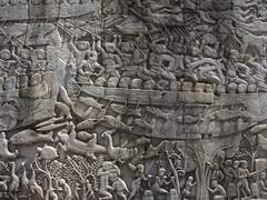 Naval battle scene on the southern gallery of Bayon Temple