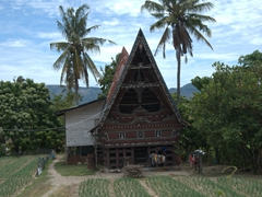 We saw hundreds of traditional Batak style houses on our drive around Samosir Island