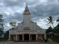 The Batak people are predominantly Christian, as evidenced by the numerous churches seen on Samosir Island