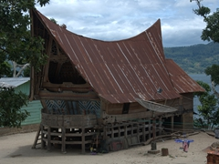 Fine carvings on this traditional Batak house; Lake Toba