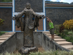 Jesus gives Robby a high five; Samosir Island