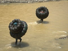 Lugging our inner tube rafts back up the river; Bukit Lawang