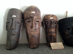 Wooden masks used for traditional Batak dances; Museum Huta Bolon Simanindo