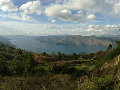 Phenomenal caldera vistas on our ride along the southeast coast of Samosir Island