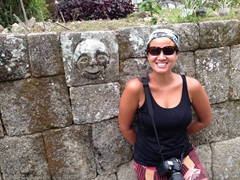 Becky beside a smiling face at Huta Siallagan