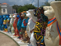 A sampling of the 140 Buddy Bears symbolizing peace and harmony at the Esplanade; Georgetown