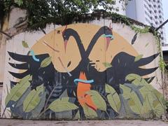 Dancing swans building mural; Hin Bus Depot