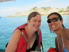Gill and Becky enjoying their snorkeling excursion at the Perhentian Islands
