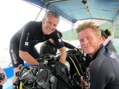 Robby and Lars getting ready to dive Tanjung Basi