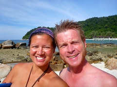 Becky and Lars about to snorkel to spot black tip reef sharks