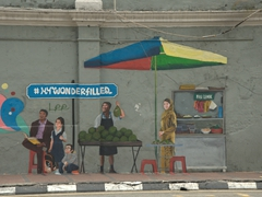 Wall mural of vendor selling durian