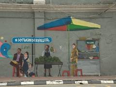 Wall mural of vendor selling durian