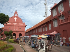 Christ Church, the oldest Protestant church in Malaysia. All the bricks used in its construction were shipped from Zeeland (Netherlands); Malaccca