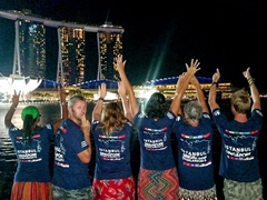 Cheeky Robby glances behind as we show off the backs of our Oasis t-shirts at Marina Bay