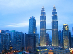 The SkyBar has a fantastic view of the Petronas Towers and is the perfect place for sunset in Kuala Lumpur
