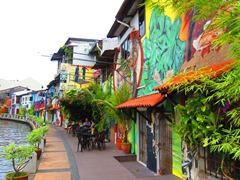 Colorful riverwalk in Malacca