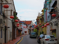 Red lanterns add to this atmospheric street in Malacca