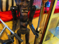 Funky wooden statue for sale at Malacca's indoor flea market