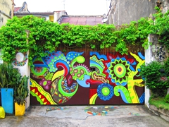 Colorful gate in funky Malacca