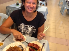 Becky enjoying an awesome meal at Restaurant Fong Yuan in Kuala Lumpur's Chinatown