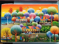 Colorful painting for sale; Central Market