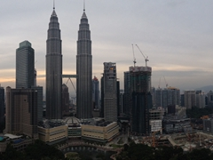 Panorama of Kuala Lumpur's skyline as seen from the SkyBar (33rd floor of the Traders Hotel)