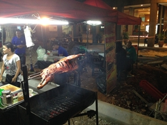 Lamb on a spit; Jalan Alor street food market