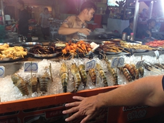 Massive tiger prawns the size of a fist; Jalan Alor