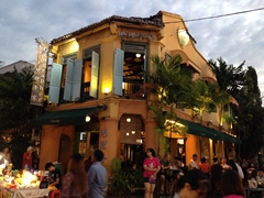 Geographer Café, a corner lot pub at dusk; Jonker Street