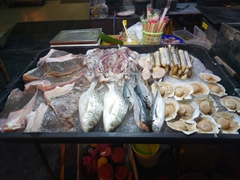 A selection of seafood on display at the  Jonker night market