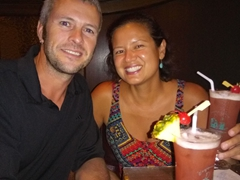 Toasting the end of our 6 month journey with a Singapore Sling - we made it!