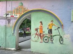 """Tourists on bikes"" wall mural in Chinatown; Kuala Lumpur"