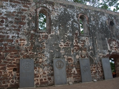 Tombstones lining the walls of Saint Paul's Church
