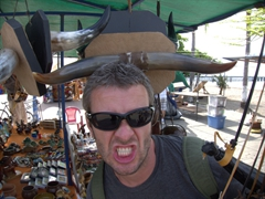Robby and the cow horns; Puntarenas souvenir alley