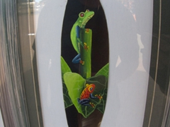 Amazing detail of frogs painted on a bird feather; Puntarenas Souvenir alley