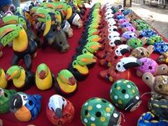 Colorful Costa Rican souvenirs for sale; Puntarenas