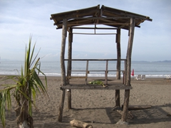 A rickety life guard shack; Puntarenas Beach