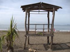 A rickety life guard shack; Puntarenas Beach