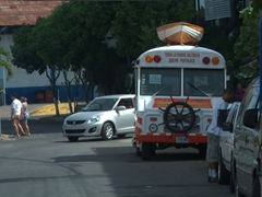 An interesting bus on the streets of Puntarenas