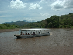 A view of one of the boats that ply the Tarcoles River in search of crocodiles, birds, and other wildlife