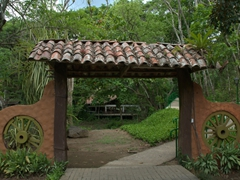 Entrance to the replica colonial village of Santa Lucia, which can be visited from the eco-lodge of Villa Lapas