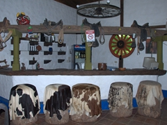 Cow hides and a rustic look inside a cantina in the replica colonial village of Santa Lucia