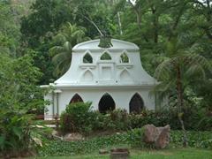 White church in the colonial replica village of Santa Lucia; Villa Lapas
