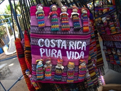 Pura Vida (Pure Life); Costa Rica's famous expression on a hand bag for sale; Puntarenas