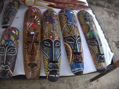Various face masks for sale; Puntarenas souvenir alley