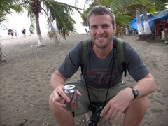 Robby enjoying a Pilsen Frost on Puntarenas Beach before we reboard our cruise