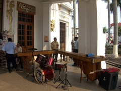 Musicians set up their instruments outside of Tapachula's Cultural Center